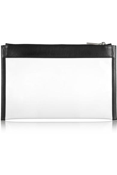 Jil Sander|Leather-trimmed PVC clutch|NET-A-PORTER.COM