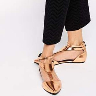 shoes matalic flat sandals flats shoes bronze