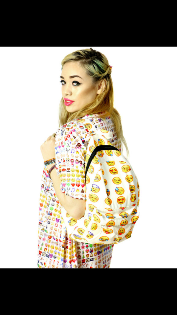 bag emoji print backpack