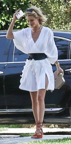 shoes dress sandals rosie huntington-whiteley belt summer dress summer outfits white dress wrap dress jewels jewelry necklace choker necklace gold choker model model off-duty celebrity style celebstyle for less