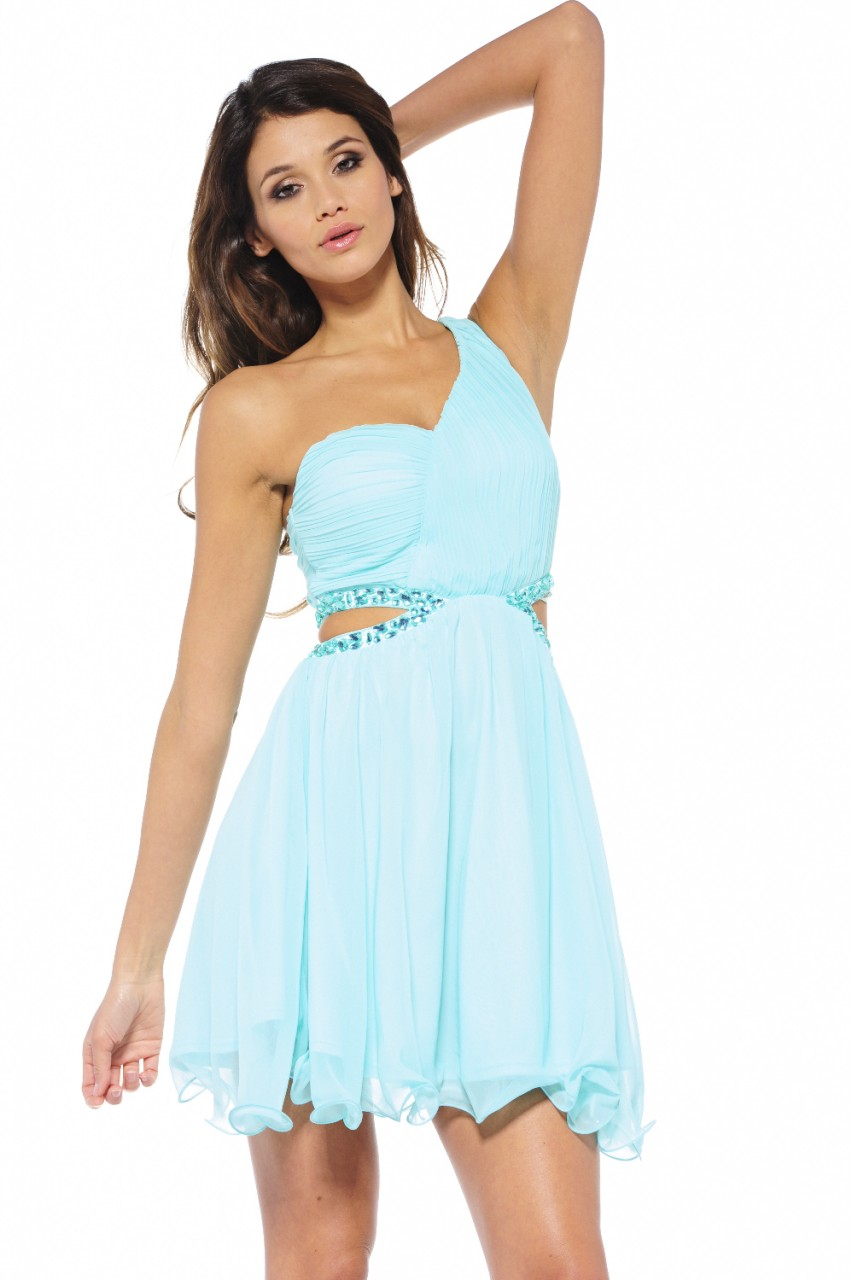 Blue Cocktail Dress - Aqua One Shoulder Cut Out | UsTrendy