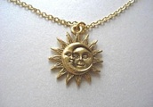 jewels,moon,sun,sun necklace,moon sun necklace,sun moon necklace,necklace,gold,moon necklace,sun and moon collar