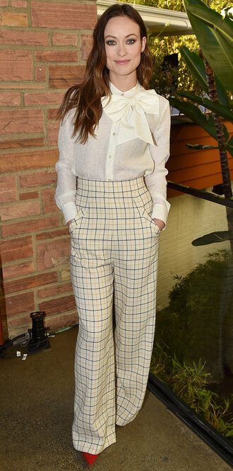pants top high waisted olivia wilde blouse shirt fall outfits