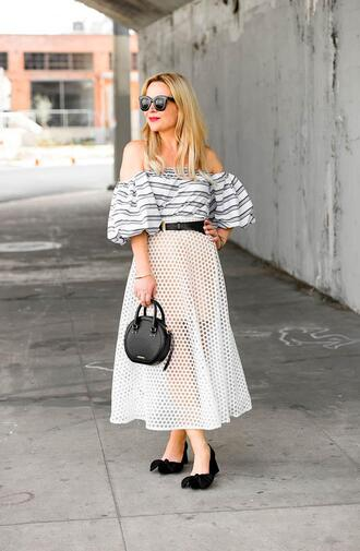 thehuntercollector blogger skirt top shoes bag belt sunglasses off the shoulder top midi skirt round bag