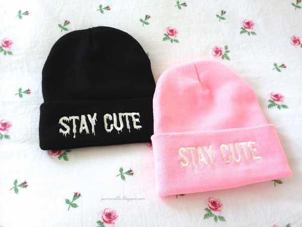 solid pink stay cute grunge pastel pastel grunge beanie cute stay black white pink hat floral winter outfits cold swag white writing solid black soft grunge style selfie