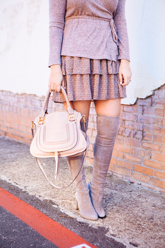 shoes tumblr boots grey boots over the knee boots suede suede boots bag nude bag skirt pink skirt dusty pink top pink top