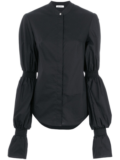 Dondup - puff longsleeves blouse - women - Cotton/Spandex/Elastane - 44, Black, Cotton/Spandex/Elastane