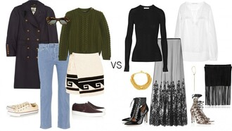 a portable package blogger outfit cable knit olive green fringed bag boho sunglasses jeans sweater skirt coat shoes bag jewels blouse