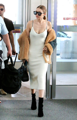 dress gigi hadid airport fashion celebrity celebrity style model spaghetti strap spaghetti straps dress white dress midi dress bodycon dress boots black boots coat fur coat bag black bag sunglasses black sunglasses