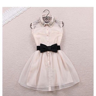 dress white dress cream cream dress cream color bow dress bows bow belt collar collared dress sleeveless dress sleeveless poofy poofy dress button down button dress button down dress buttons button up button up dress