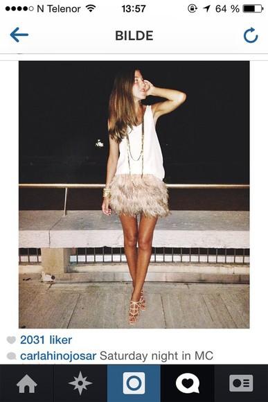 fur skirt ostrich beige skirts
