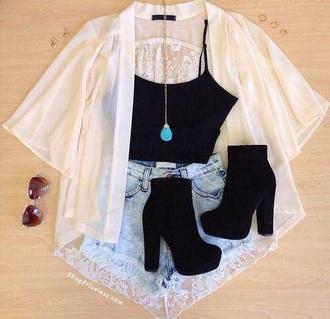 blouse shoes black heels black crop top style denim shorts