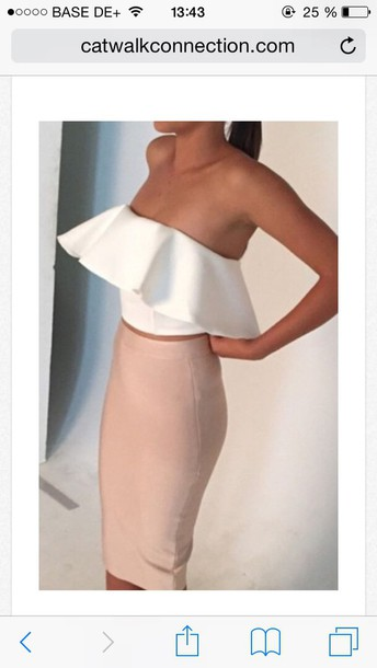 dress ress ruffle bustier dress top hair sexy party dresses pink dress skirt pink skirt nude dress style fashion clothes ponytail make-up white top nude skirt 2 piece skirt set