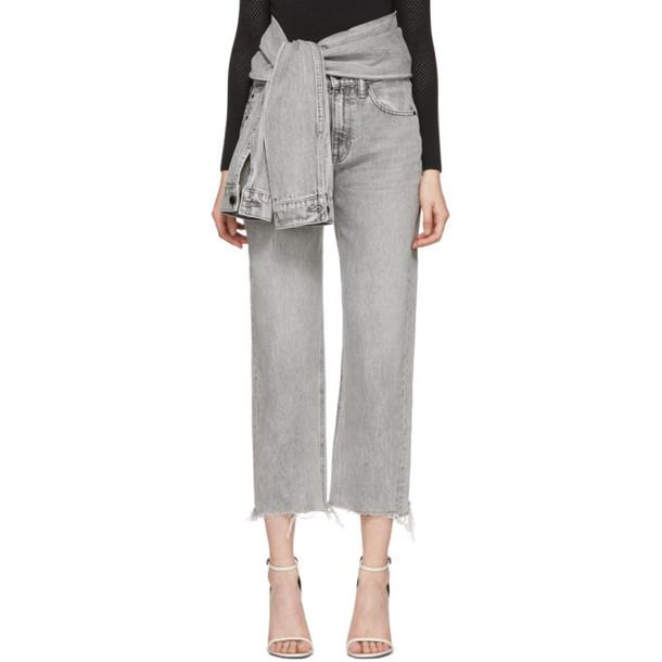 Alexander Wang Grey Stack Crop Tie Jeans