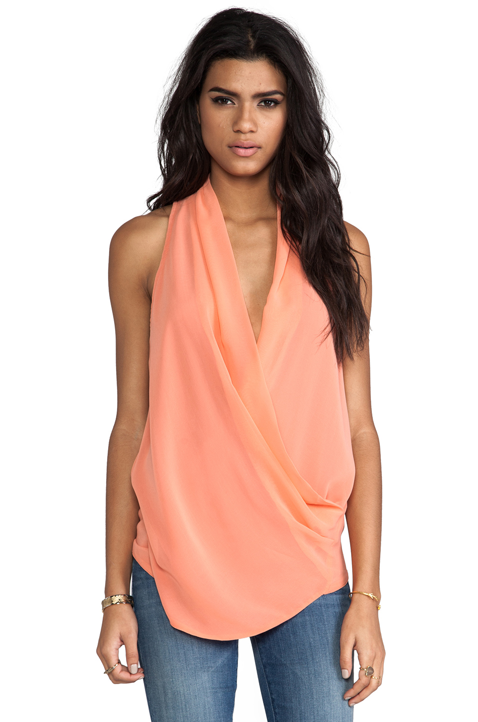 MM Couture by Miss Me Drape Front Tank in Coral | REVOLVE