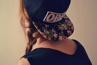 hat floral snapback obey black
