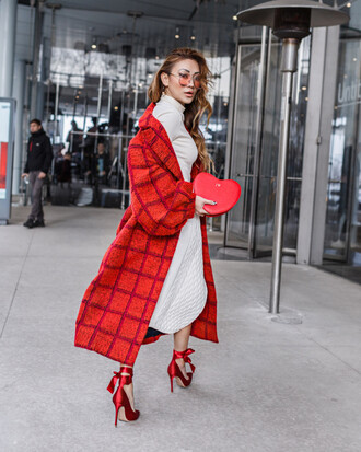 coat tumblr red coat checkered long coat skirt midi skirt white skirt top white top turtleneck white turtleneck top high heels heels red heels pumps high heel pumps bag red bag date outfit sunglasses aviator sunglasses red sunglasses spring outfits