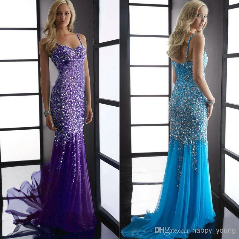 Discount Full Beadings Dresses Fiesta 2014 Strap Aqua Long Mermaid Prom Dress New Dress Party Evening Dresses 5060 Online with $183.91/Piece | DHgate