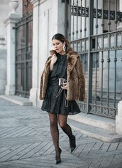 dress,tumblr,winter date night outfit,date outfit,mini dress,black dress,jacket,fur jacket,leopard print,tights,polka dot tights,polka dots,pumps,pointed toe pumps