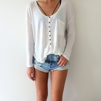 shirt top t-shirt tee tee shirt bralette high waisted high waisted shorts high waisted jeans white black black and white beauty dope indie grunge hipster tumblr instagram ouftit ootd shorts
