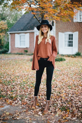 shoes tumblr boots brown boots lace up boots fall boots denim jeans black jeans skinny jeans sweater bell sleeves felt hat floppy hat