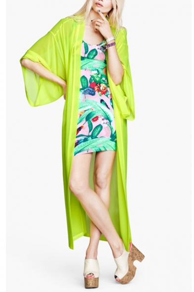 Shinning green longline kimono in chiffon with loose sleeve