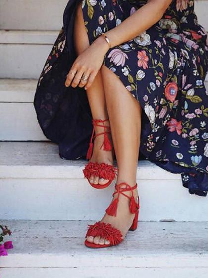9bb85db20f9 Red Tassel Detail Ankle Lace Up Block Heeled Sandals