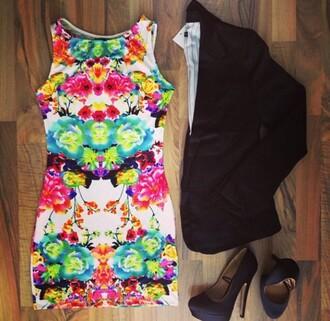 dress colorful bodycon dress short dress