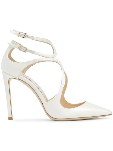 Jimmy Choo women 100 pumps leather white satin shoes