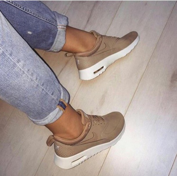 shoes low top sneakers nike sneakers nude sneakers sneakers nike beige nike  air max thea tan a844f3bd2