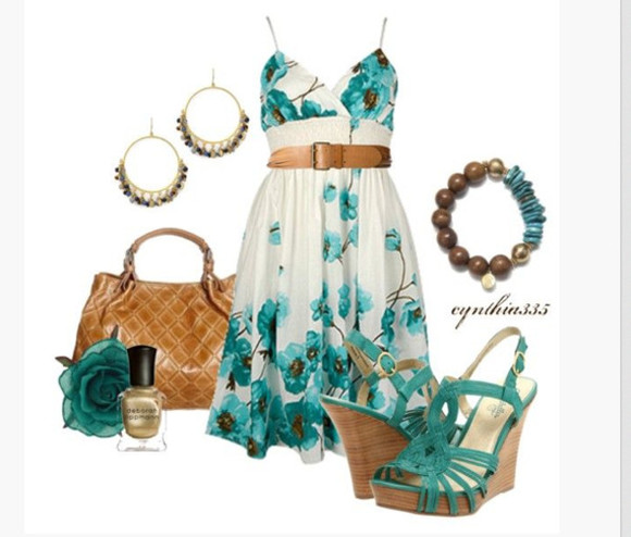 hoops earrings dress summer dress cute cute dress empire waist teal turquiose belt belted short dress bag purse shoes high heels platforms wedges slingback wedges bracelet turquoise shoes turquoise heels spaghetti strap clothes outfit