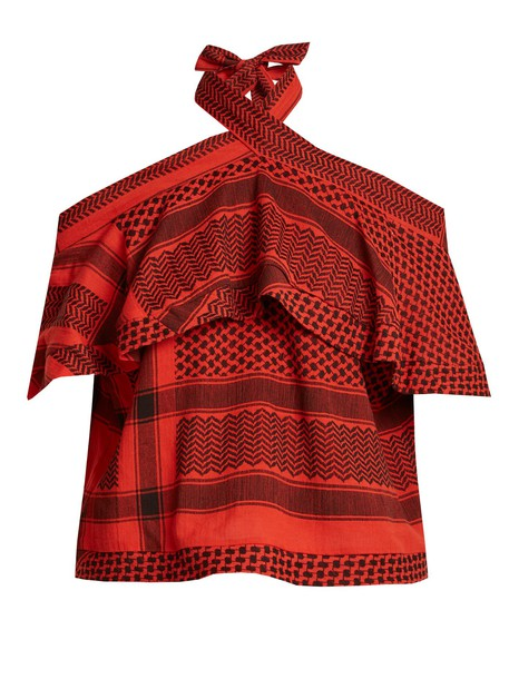CECILIE COPENHAGEN top jacquard cotton red