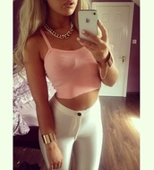 pants,shirt,pretty outfit,blonde hair,white pants,jeans,leggings,top,tank top,clothes,tumblr,pink,outfit,jewels,white,cream,high,waisted,high waisted,high waisted pants,disco,disco pants,matte,no shine,high waisted trousers,iphone,tights,high waisted leggings,white leggings,fashion,bralette,bralette tops