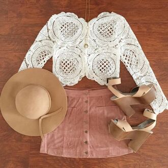 skirt camel sandals pink skirt pink suede skirt suede skirt mini skirt top white lace top lace top crop tops white crop tops fedora camel fedora sandals platform sandals