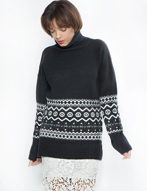 sweater black and white turtleneck turtleneck sweater oversized sweater slouchy sweater boyfriend sweater winter sweater pixie market fair isle sweater pixie market girl chunky knit sweater