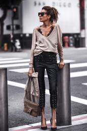 fashionedchic,blogger,pants,sweater,shoes,tank top,jacket,bag,gucci bag,pumps,beige sweater,spring outfits,leather pants