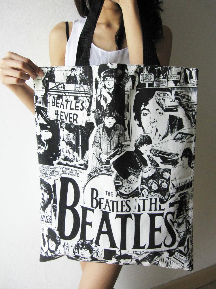 The Beatles Cartoon Print Comic New Pop Rock Art Canvas Tote Bag Save World Life | eBay