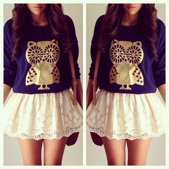 swag nice owls owl gold owl white skirt sweater blue sweater
