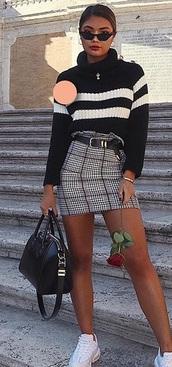 skirt,black,white,jumper,plaid skirt,knit,knitwear,stripes,belt,sunglasses,handbag,hoop earrings