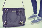 bag,michael kors,black,leather,purse,tote bag