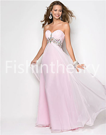 US $135.99 | 2014 Style A-line Sweetheart Beading Sleeveless Floor-length Chiffon Prom Dresses / Evening Dresses