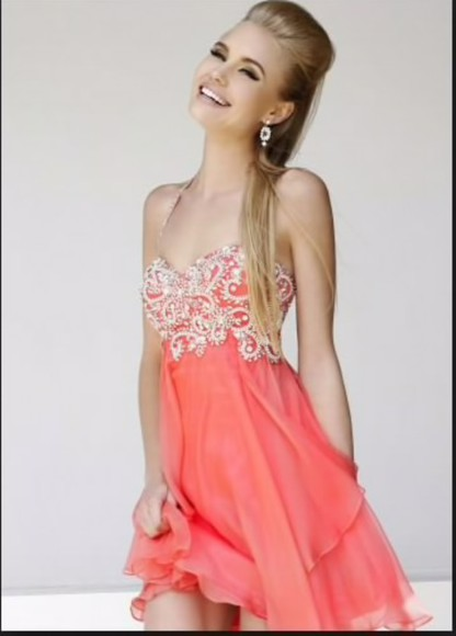 straps homecoming dress coral prom dress embellished dress