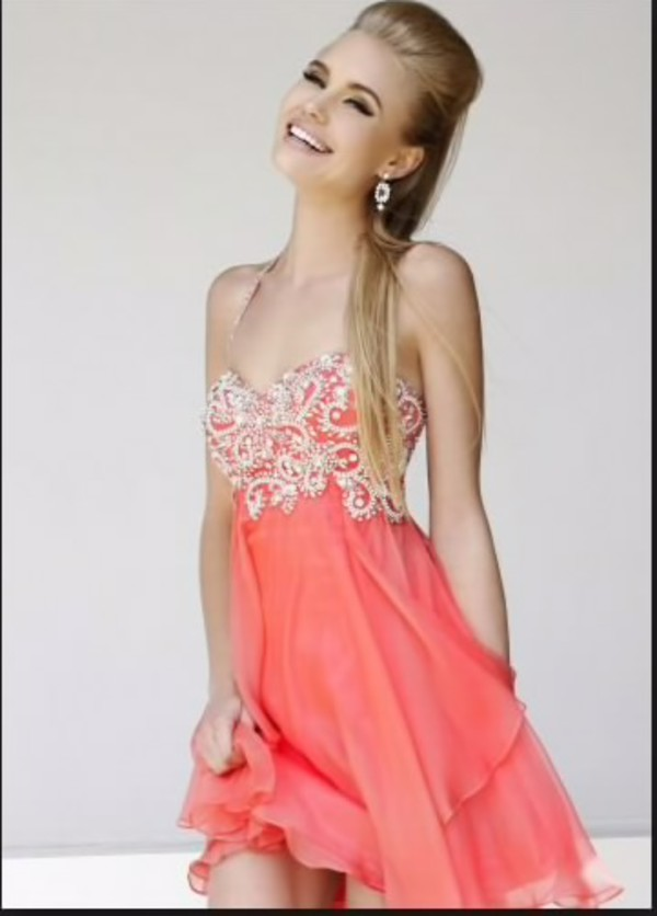 coral homecoming dress prom dress straps embellished dress dress