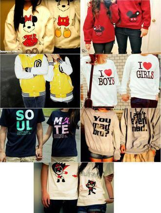 sweater matching couples minnie and mickey white hoodie red yellow i heart girls i heart boys black t-shirt soul pink mate grey you mad bro? i ain't even mad ninjas varsity jacket