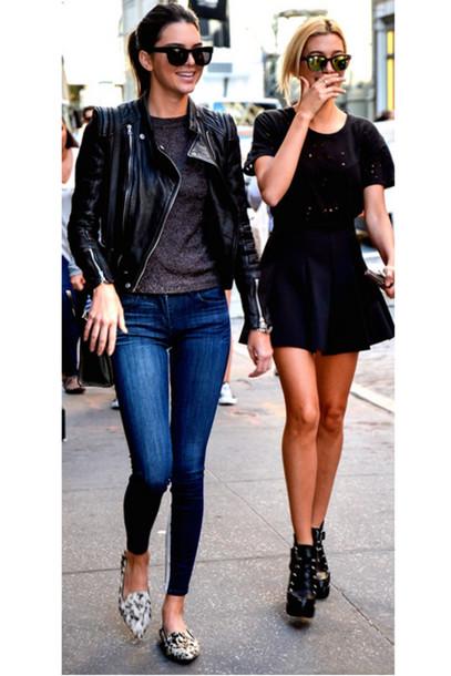 d34374973854 jacket leather jacket kendall jenner shoes flats jeans