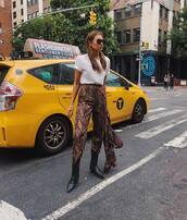 pants,snake print pants,cropped pants,high waisted pants,ankle boots,white t-shirt,jacket,sunglasses