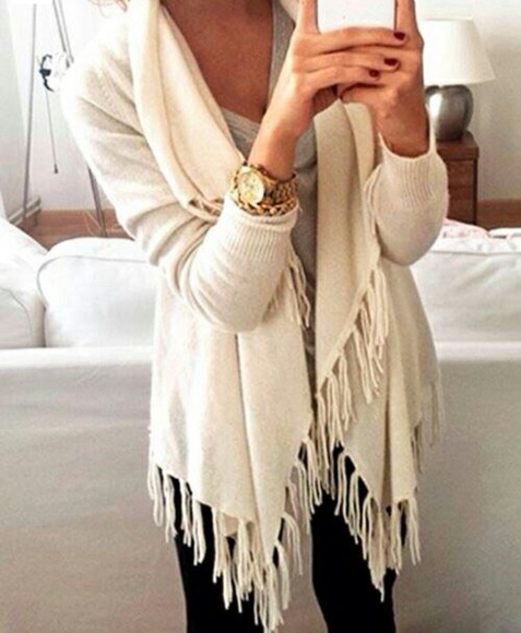 cardigan throw tassels cream cosy fall outfits