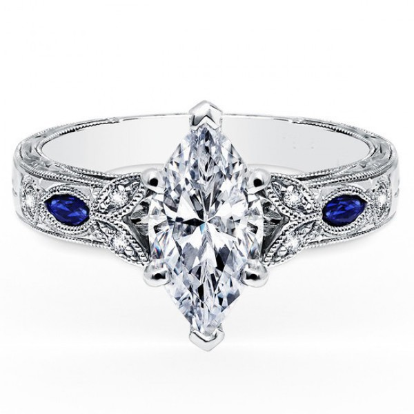 Amazing Marquise Cut Diamond Engagement Ring With Marquise Cut Blue Sapphire