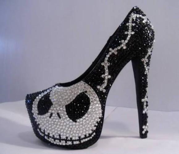 bright high heels punk dark jack nightmare before christmas black and white