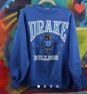 blue,drake,sweater,hoodie,royal blue,drake clothing